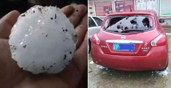 辽宁葫芦岛突降鸡蛋大冰雹 门窗遭殃