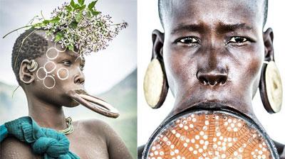 人体非洲艺术_最极限人体艺术:非洲部落女性敲掉下牙戴唇盘